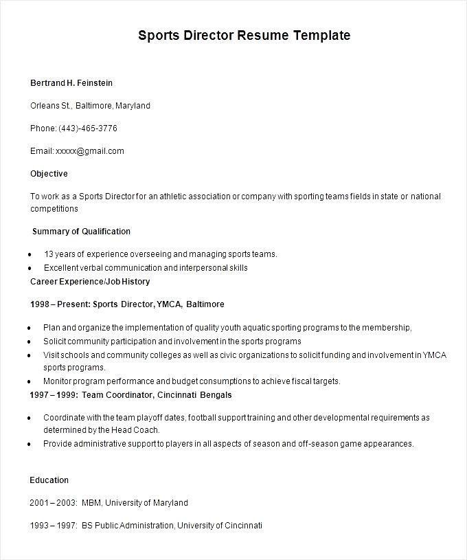 Sports Director Resume Template - Free Samples , Examples & Format ...