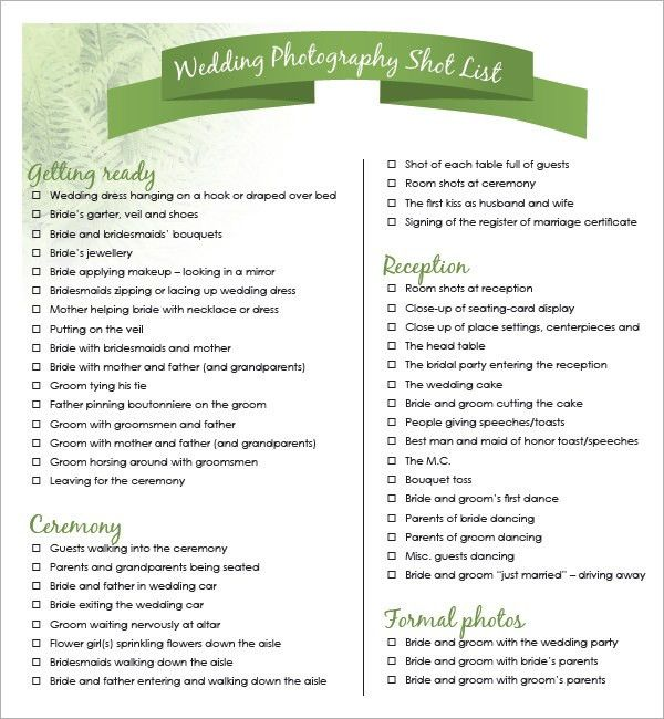 Example Wedding Shot List
