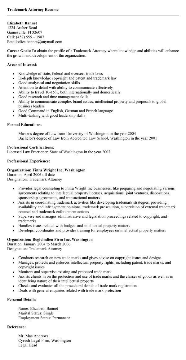 Captivating Trademark Attorney Resume Trademark Lawyer Cover Letter
