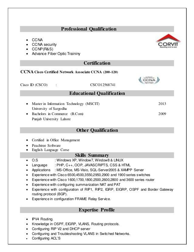 it. ccna resume 5 ccna resume sm sajeet mobile 91 9502061530 email ...