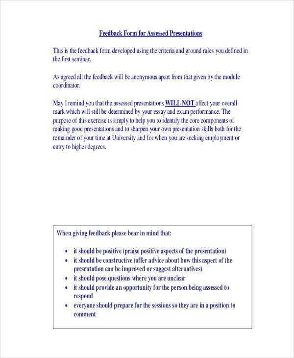 21+ Sample Presentation Feedback Forms