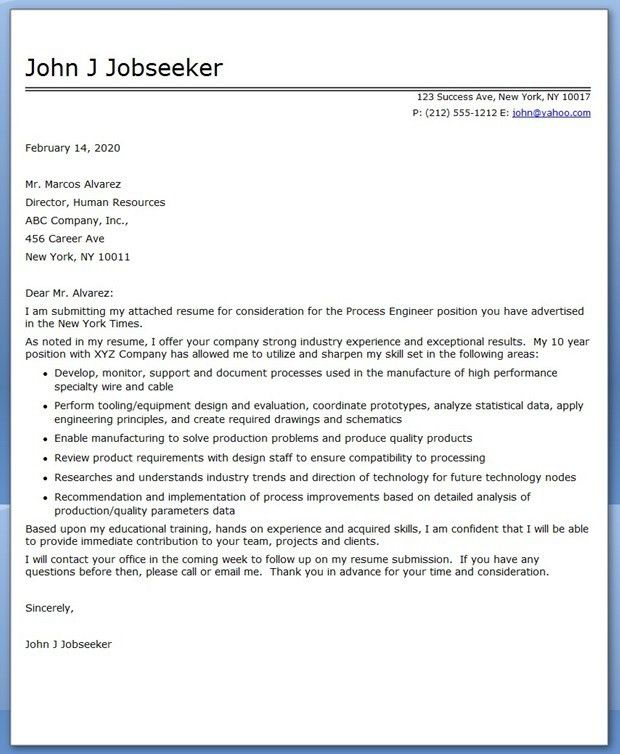 process engineering cover letter process engineering cover letter ...