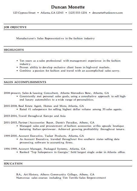 Resume for a Manufacturer's Sales Rep - Susan Ireland Resumes
