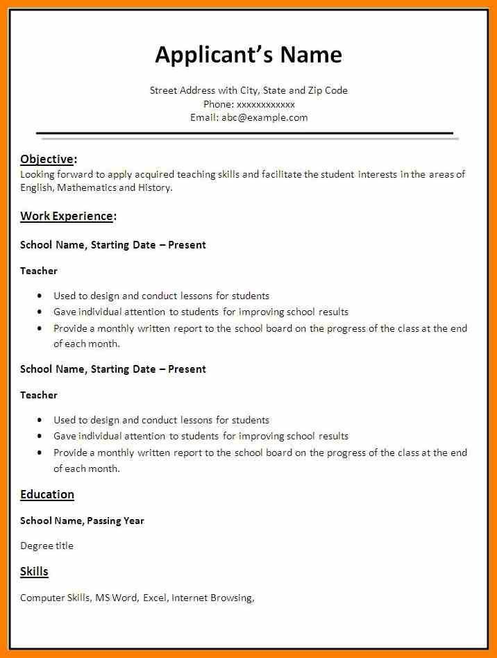simple resume format free download in ms word carpenter assistant ...