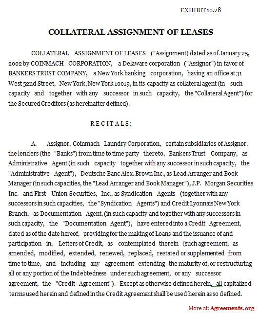 Collateral Assignment of Leases Agreement, Sample Collateral ...