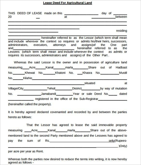 Sample Land Lease Agreement Templates. Pdf Format Crop Land Lease ...