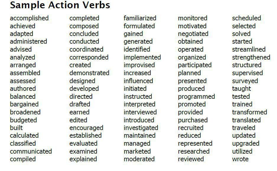 great resume verbs