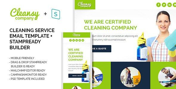 Cleansy - Cleaning Service Purpose E-mail Template by ide46 ...
