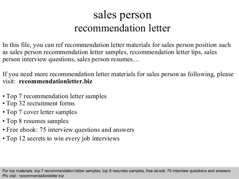 Sales person recommendation letter