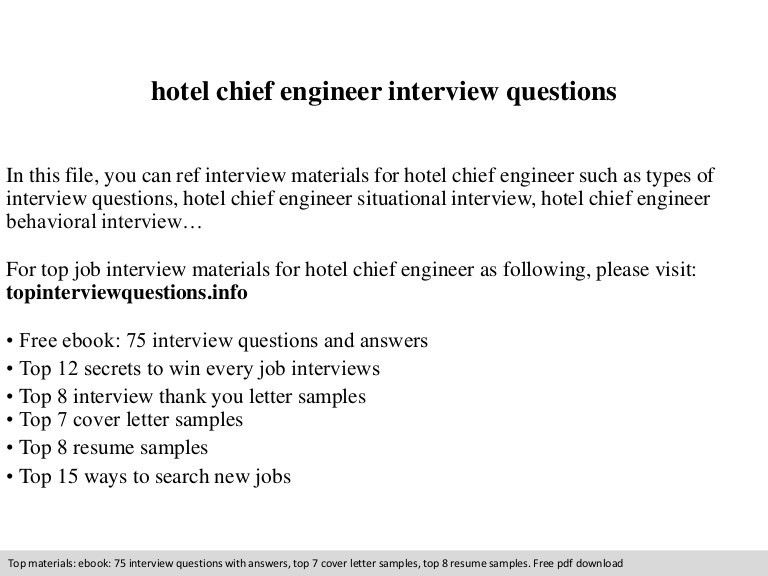 Hotel chief engineer interview questions