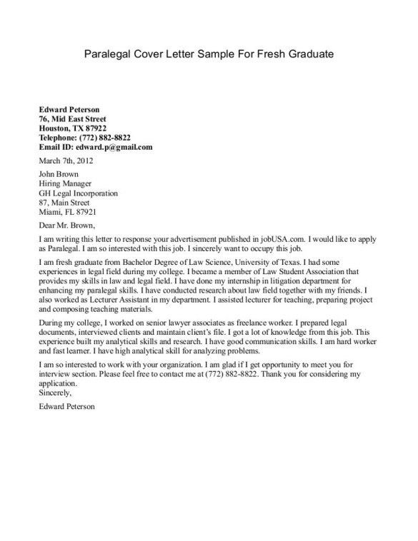 Paralegal Cover Letter For Substitute Teaching for Fresh Graduate ...