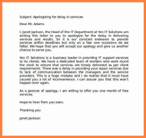 Professional Apology Letter Example. Customer Apology Letter ...