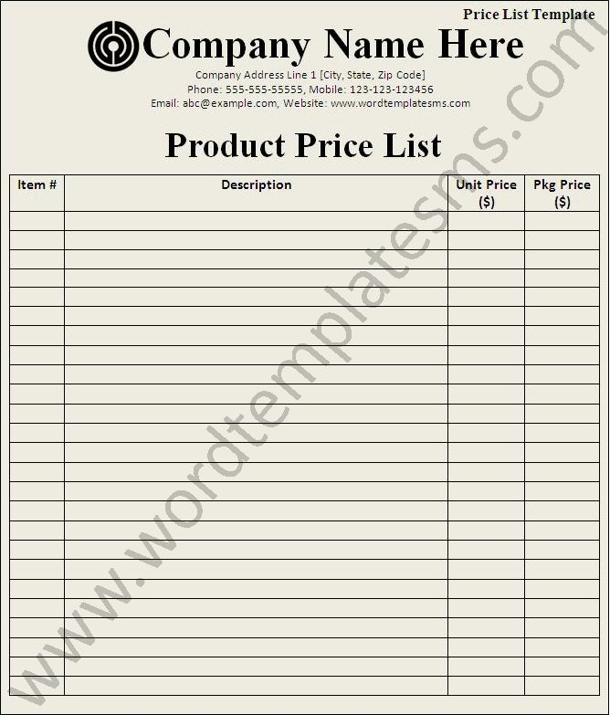 Price List Template Download Page | Word Excel Formats