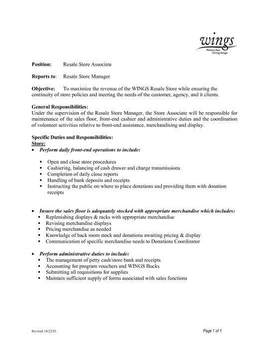 Elegant Sales Floor Associate Resume | Resume Format Web