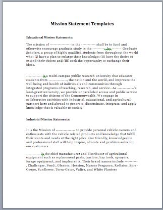MS Word Mission Statement | Microsoft Word Templates