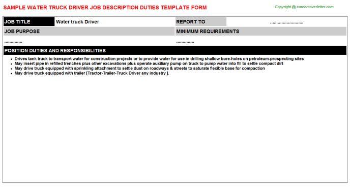 Water Truck Driver Job Description