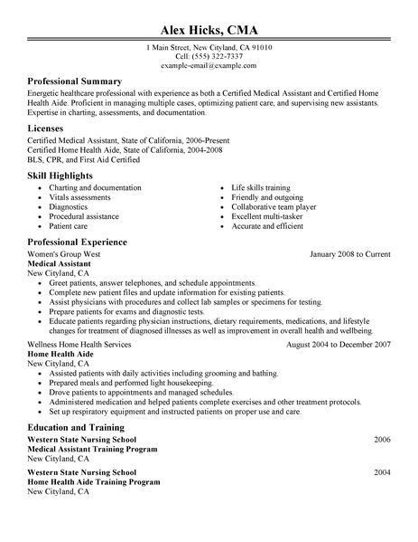 Medical Resume Template. Medical Assistant Resume Example 2 ...
