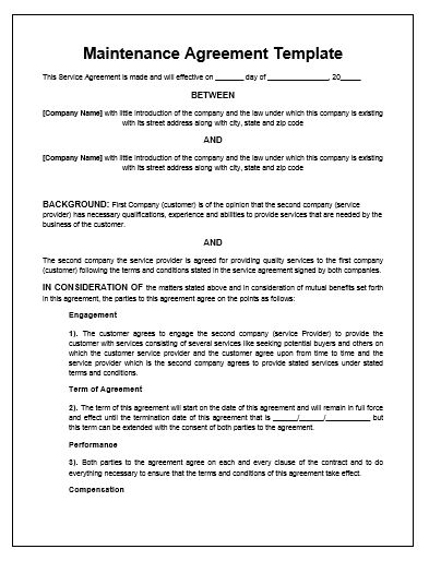 Maintenance Agreement Template | Microsoft Word Templates ...