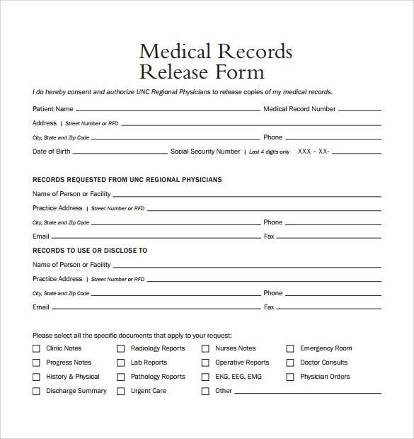 Medical Record Release Form. 19 Sample Medical Records Release ...