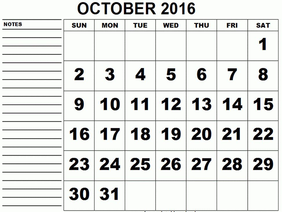 Free October 2017 Printable Calendar Editable PDF Word, Blank ...
