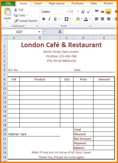 8+ food bill format in word | Financial Statement Form