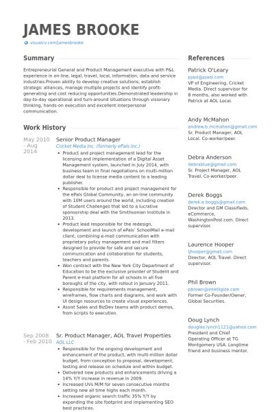 Senior Product Manager Resume samples - VisualCV resume samples ...