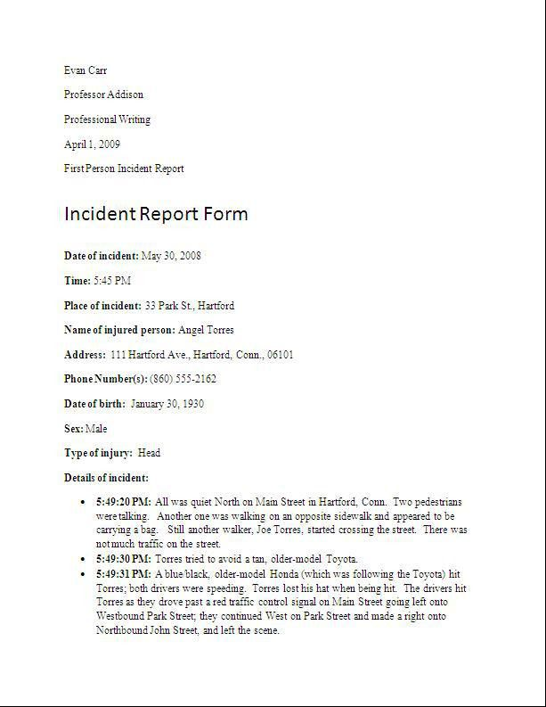 Sample Incident Report. Network Incident Report Template Example ...