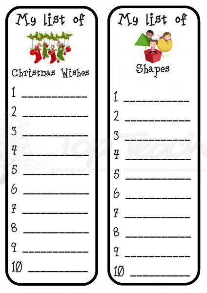 Writing list template | Top Teacher - Innovative and creative ...