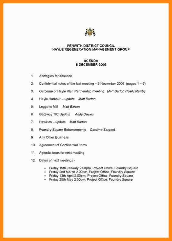 6+ format of an agenda | nurse resumed