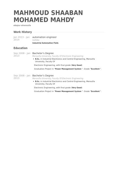 Automation Engineer Resume samples - VisualCV resume samples database
