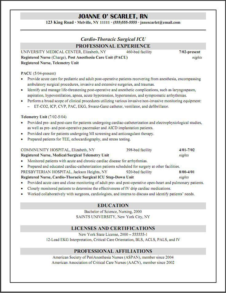 Well-Suited Ideas Telemetry Nurse Resume 8 Doc463599 Surgical ...