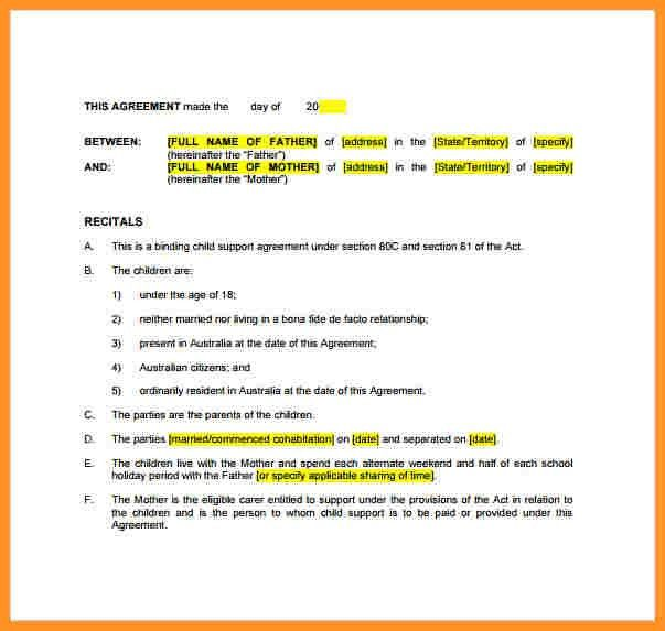 10 custody agreement templates free sample example format. 6 child ...
