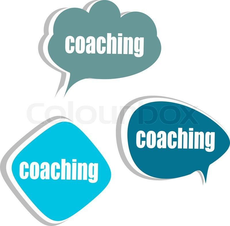 Coaching word on modern banner design template. set of stickers ...