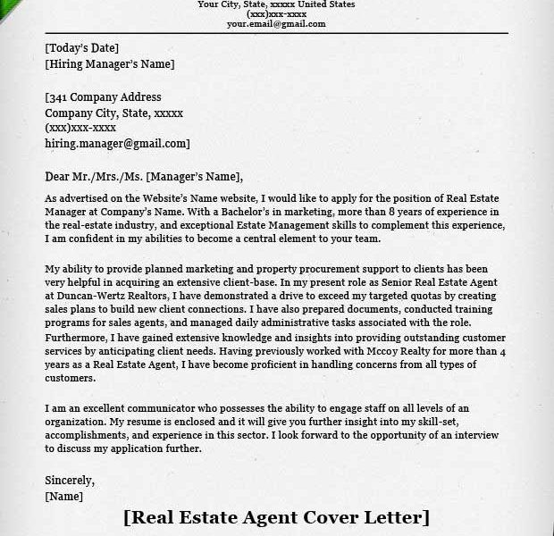 Skillful Ideas Real Estate Resumes 12 Real Estate Agent Cover ...