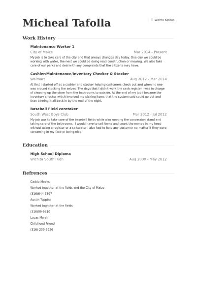 Maintenance Worker Resume samples - VisualCV resume samples database