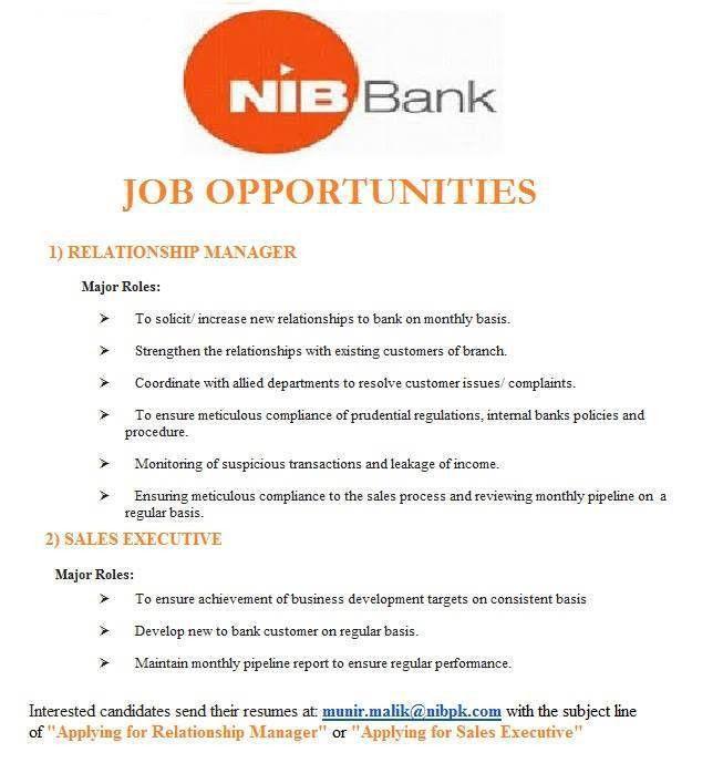 Relationship Manager & Sales Executive Job at NIB bank | Jobs ...