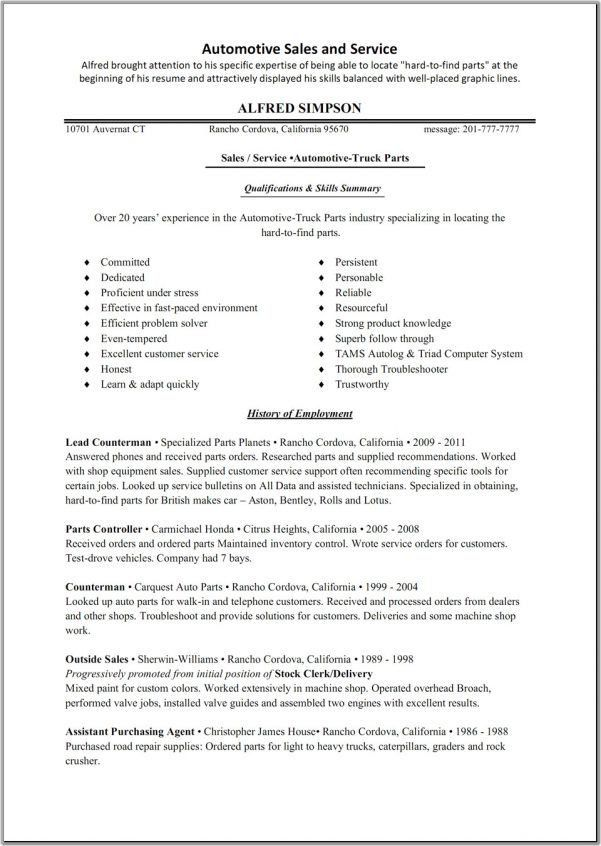 sales manager resume examples auto parts sales resume template ...