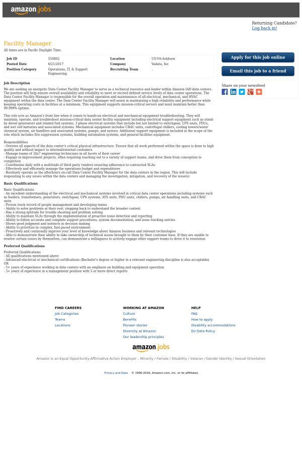 Facility Manager job at Amazon in Ashburn, VA | Tapwage Job Search