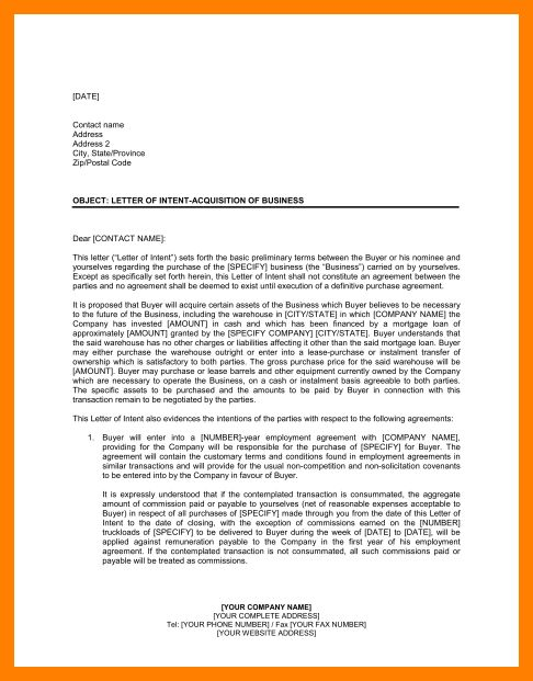 7+ business letter of intent sample | commerce invoice