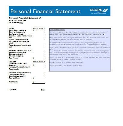 Personal Financial Statement Forms - Download Free at Blue Templates