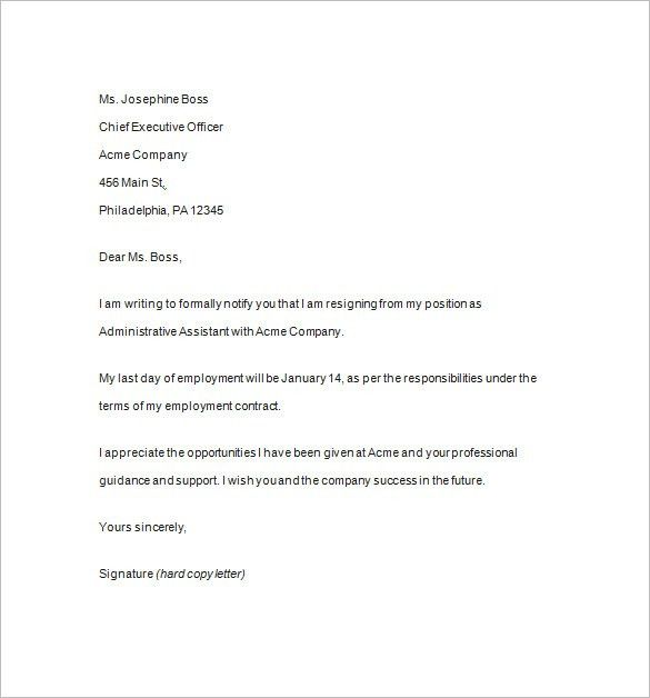 Resignation Notice Template - 14+ Free Samples, Examples, Format ...