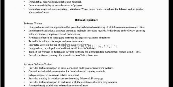 Software Trainer Cover Letter