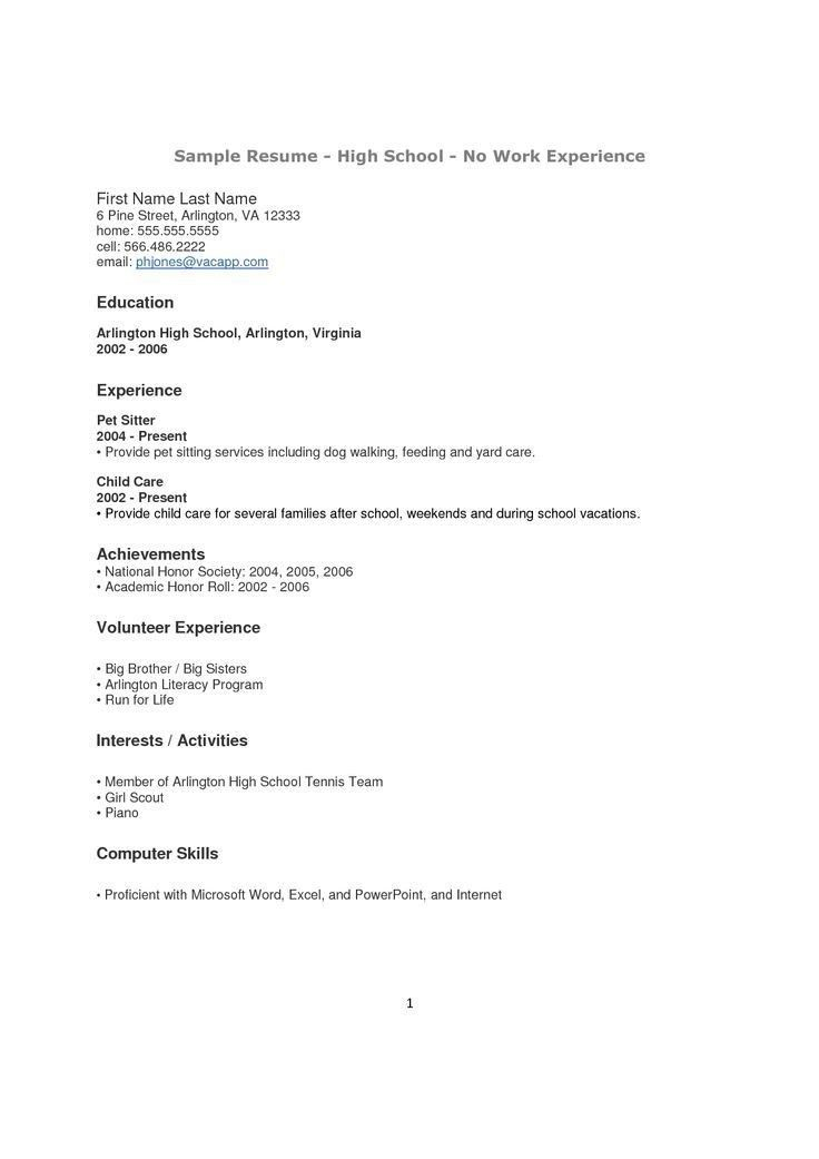 High School Graduate Resume With No Work Experience - Best Resume ...
