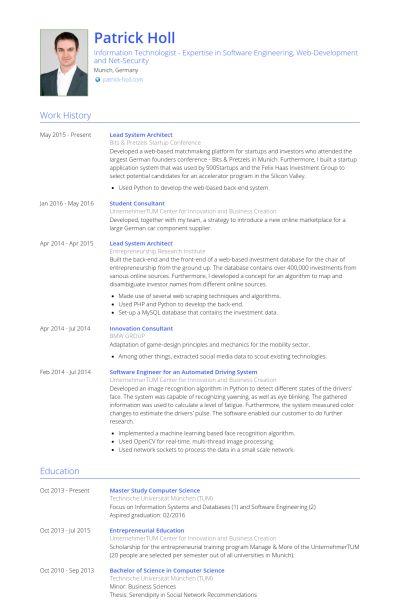 Architect Resume samples - VisualCV resume samples database