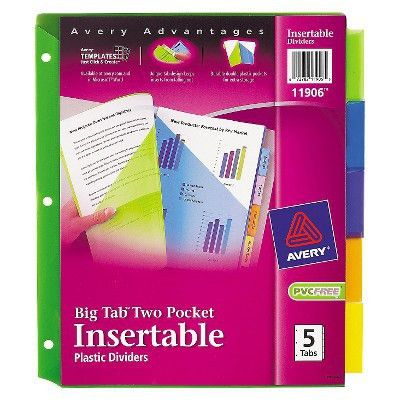 Avery® Big Tab Dividers, Two Slash Pockets, 5-Tab, Assorted, Pack ...