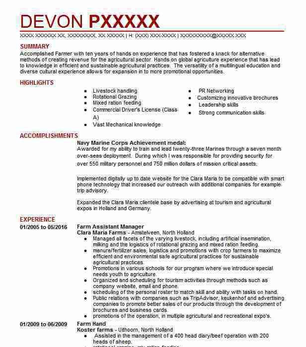 Dairy Farm Manager Sample Resume Professional Diary Farm Manager - farm manager sample resume
