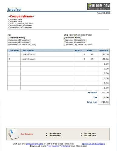 25 Free Service Invoice Templates [Billing in Word and Excel]