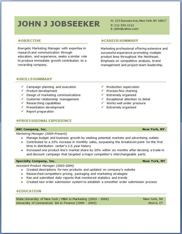 Resume Templates Doc. Word Doc Resume Template,Free 6 Microsoft ...