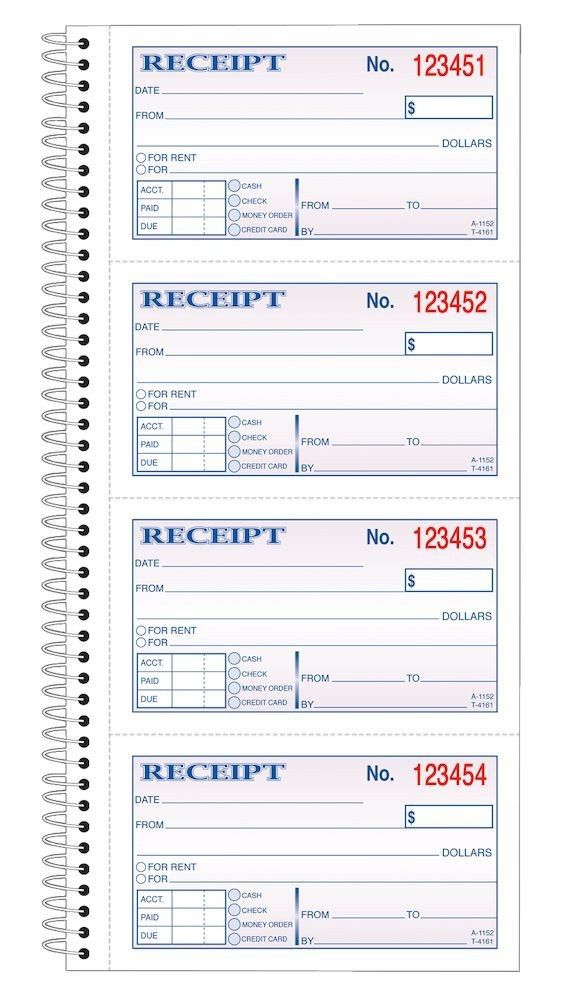 Money/Rent Receipt Book, spiral, 2-Part, 11x5-1/4, 200 ST/BK