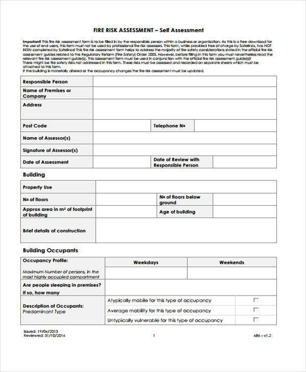 8+ Fire Risk Assessment Form Samples - Free Sample, Example Format ...